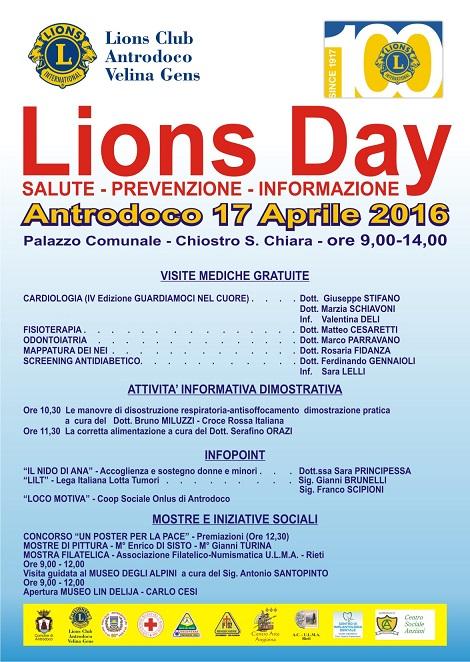 Locandina Programma Lions Day 2016