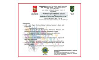 """Il 28 ottobre a Perugia il convegno """"Handicap uditivi e visivi: prevenzione ed integrazione"""""""